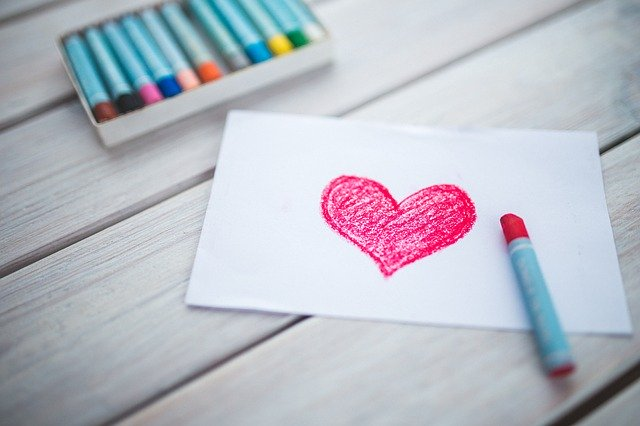 heart, card, pastels